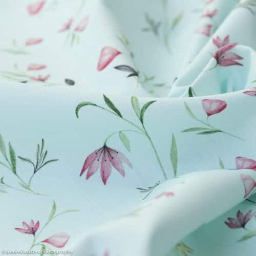 Cotton Poplin Dress Fabric - Floral Mint