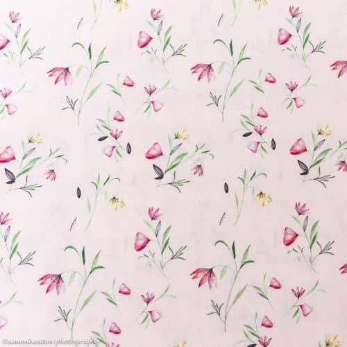 Cotton Poplin Dress Fabric - Floral Pink