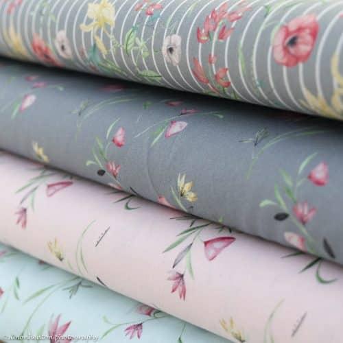 Cotton Poplin Dress Fabric - Floral Grey
