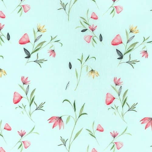 floral cotton dress fabric in mint