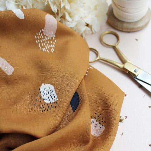 Moonstone Ochre Viscose Dress Fabric by Atelier Brunette