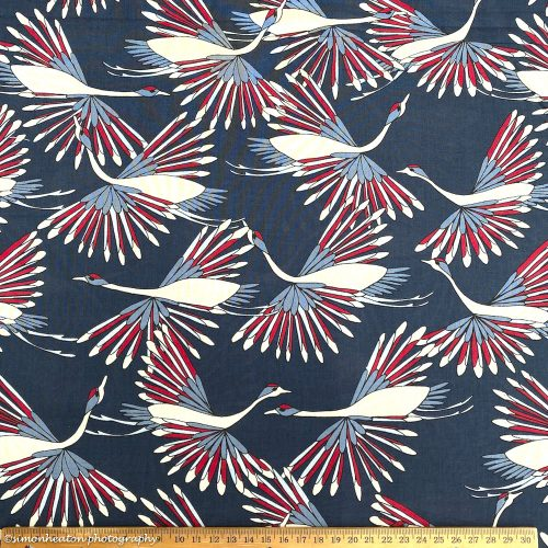 Organic Cotton Lawn Dress Fabric - Yuna Flying Birds