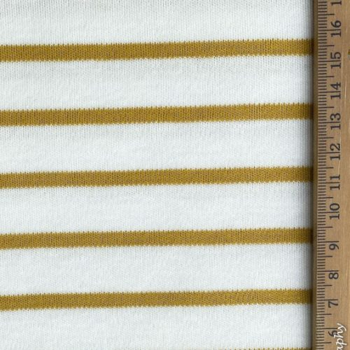 Organic Cotton Interlock Jersey Stripes- White/ Tawny Olive