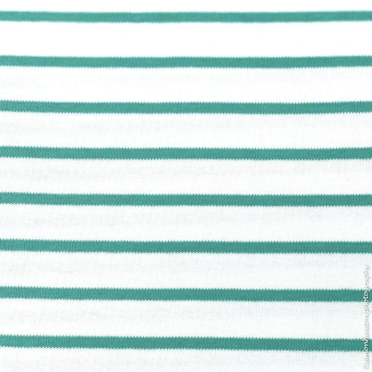 Organic Cotton Interlock Jersey Stripes- White/ Lagoon