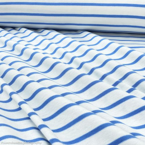 Organic Cotton Interlock Jersey Stripes- White/ Marina