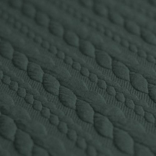 khaki green cable knit jersey fabric