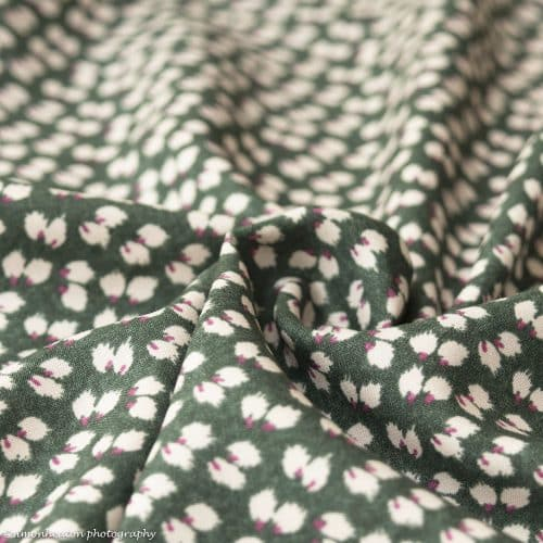 Olive Green Petals Viscose Dress Fabric