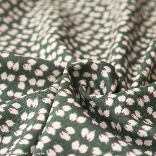 Olive Green Petals Viscose Dress Fabric