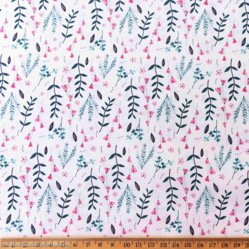 Cotton Poplin Dress Fabric - Pink Meadow