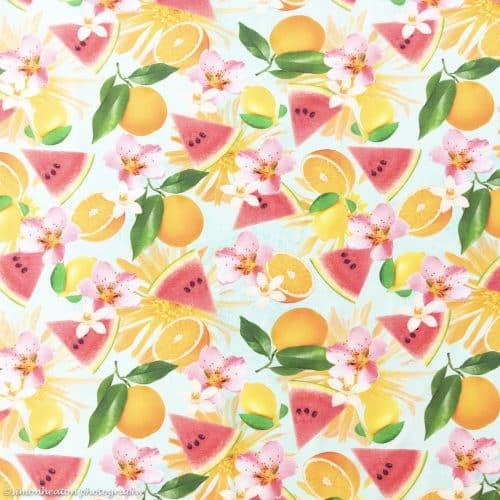 Cotton Jersey Dress Fabric- Tropical Fruits