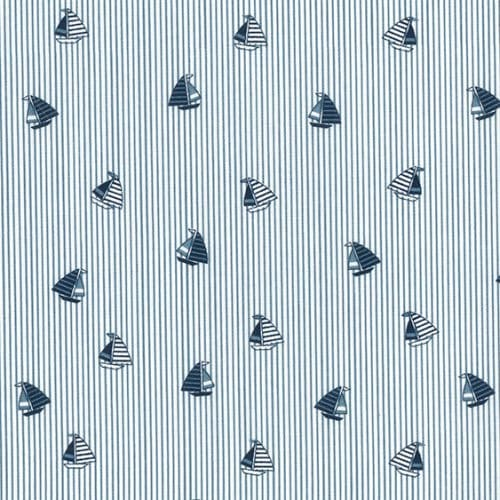 Cotton Poplin Dress Fabric - Sailing Boats Blue Stripes