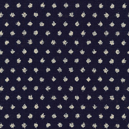 Japanese Cotton Print Dress Fabric - Spots Indigo