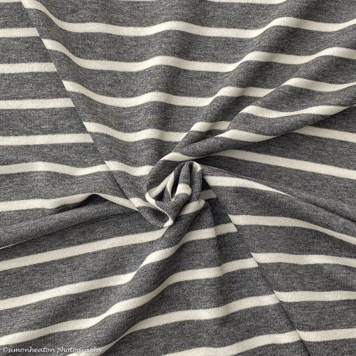 Viscose French Terry Jersey - Grey Ecru Stripes