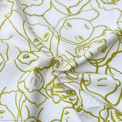 Lady McElroy Cotton Lawn Dress Fabric - Crowded Faces Ochre