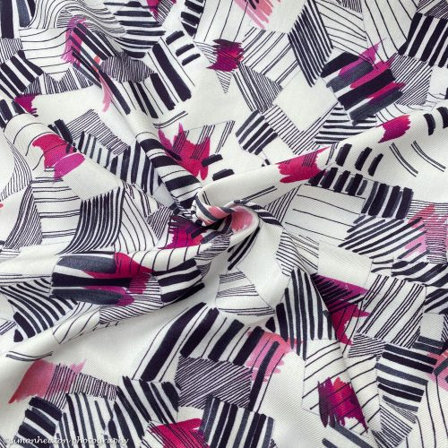 Viscose Twill Dress Fabric - Abstract Pink