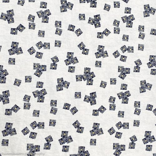 Midnight Garden Cubes- Dashwood Linen Cotton Dress Fabric
