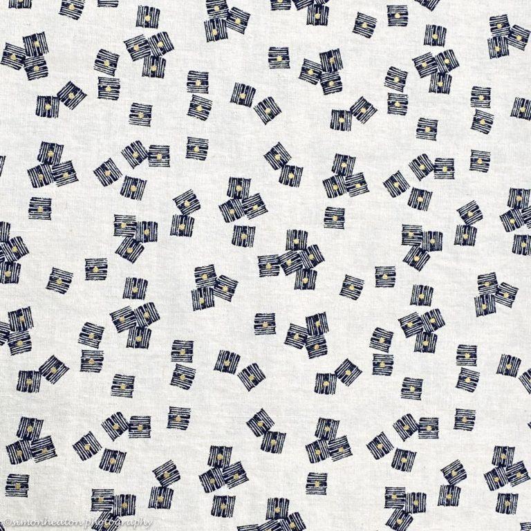 Midnight Garden Cubes- Dashwood Linen Cotton Dress Fabric