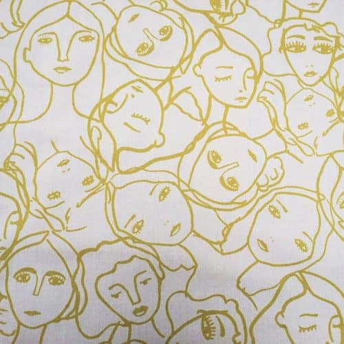 Lady McElroy Cotton Lawn Dress Fabric - Crowded Faces in Ochre