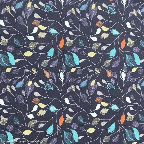 Organic Cotton Jersey Dress Fabric- Leaves in Navy