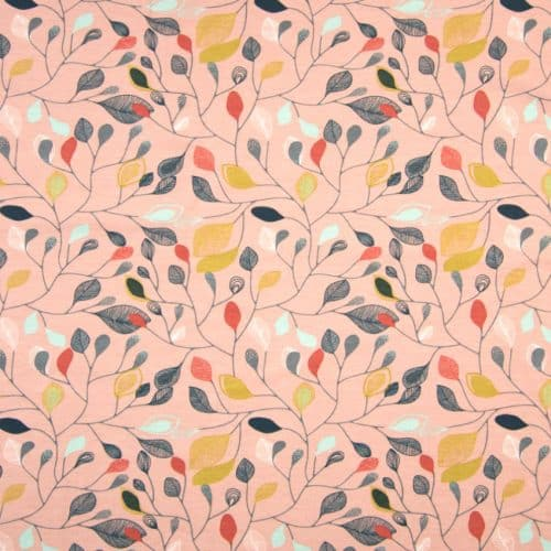 Organic Cotton Jersey Dress Fabric- Leaves in Dusky Pink
