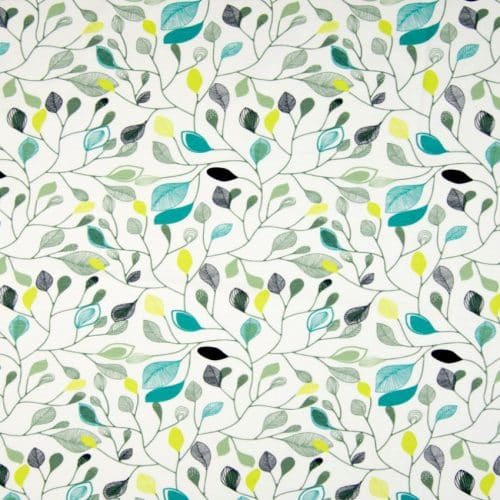 Organic Cotton Jersey Dress Fabric- Leaves in White