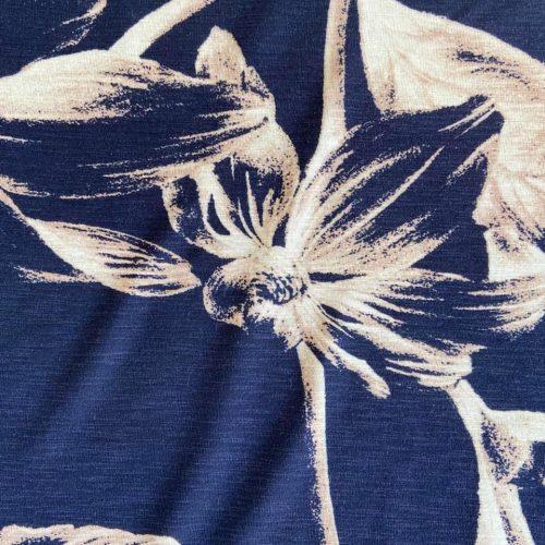 Viscose Jersey Print Dress Fabric - Large Flowers on Navy