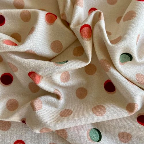 Viscose Jersey Print Dress Fabric - Dots Nude Coral