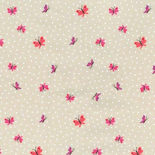 Cotton Jersey Dress Fabric- Butterflies Sand
