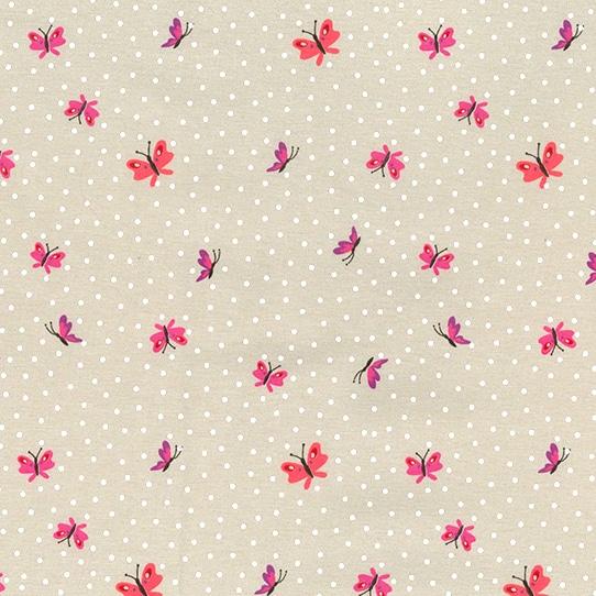 Cotton Jersey Dress Fabric- Butterflies Sand