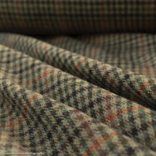 Green Rusty Orange Wool Tweed Fabric