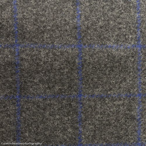 Wool Tweed Check Fabric- Grey with Blue