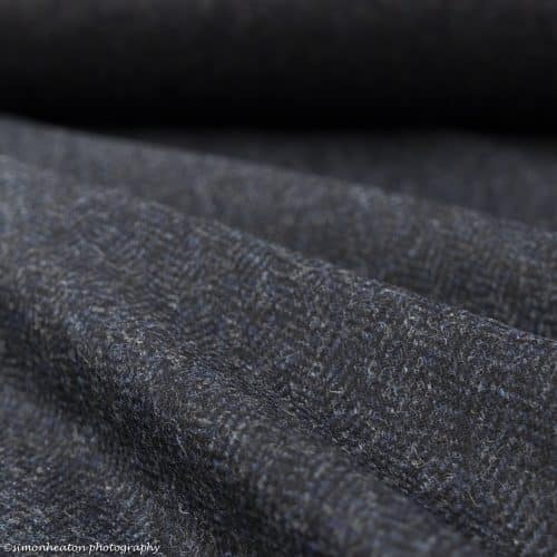 Wool Check Fabric- Blue Herringbone