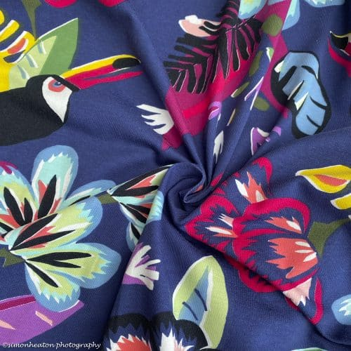 Cotton Jersey Dress Fabric- Tropical Toucan