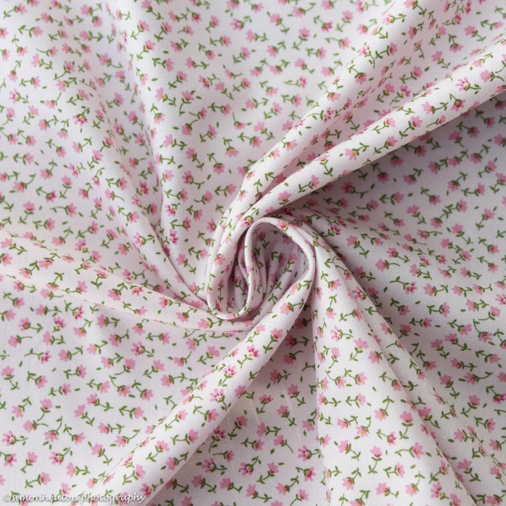 100% Cotton Poplin Fabric Pink & Yellow Spring Ditsy