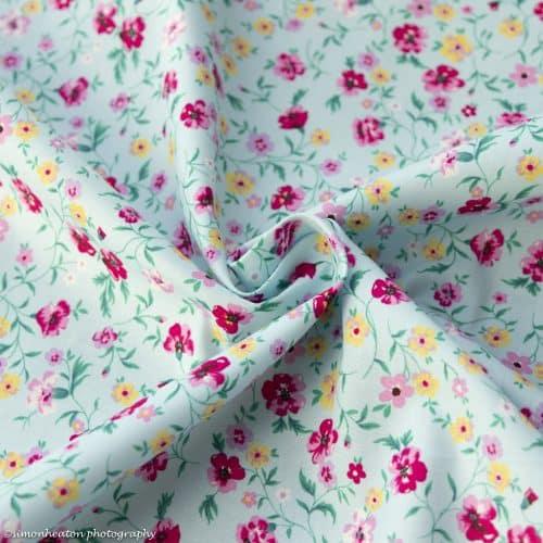 blue floral cotton print