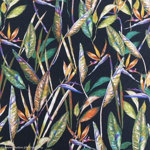 bird of paradise tropical flowers fabric