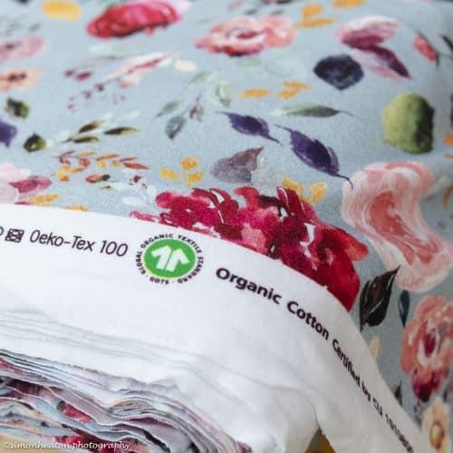 organic light blue floral fabric