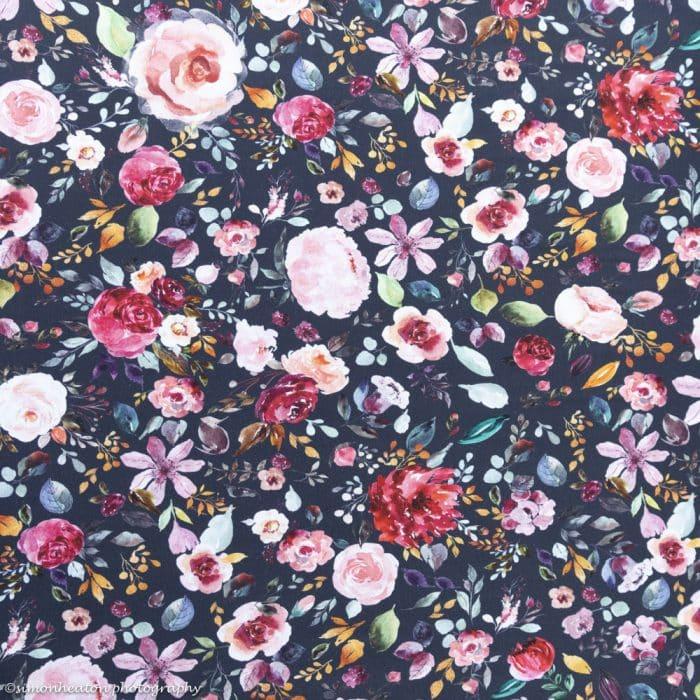 organic navy floral fabric