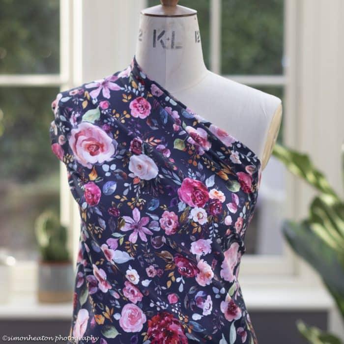 organic blue floral fabric