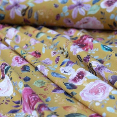 organic ochre floral fabric