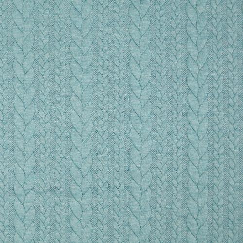 Cable Knit Jacquard Dress Fabric - Aqua
