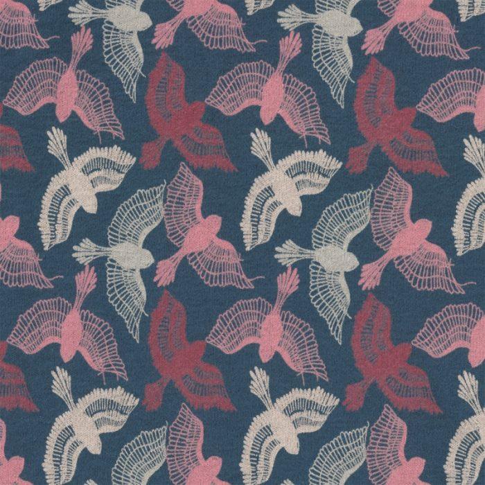 Organic Cotton Interlock Jersey - Paradise Birds