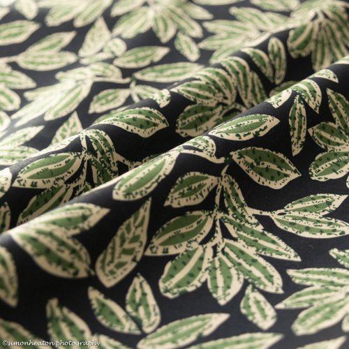 Cotton Poplin Dress Fabric - Regency Green Leaves