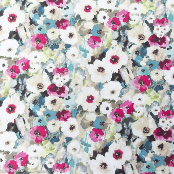 Floral Watercolours Cotton Dress Fabric - Teal