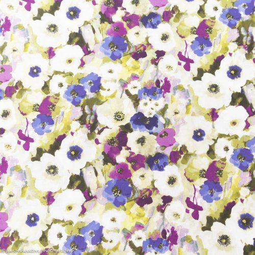 Floral Watercolours Cotton Dress Fabric - Purple