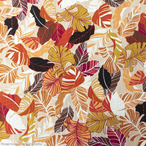 crinkle viscose palm leaves red