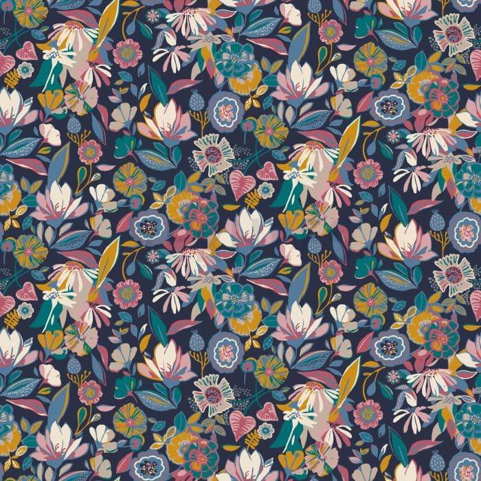 Navy Flower Print Modal Tencel Jersey