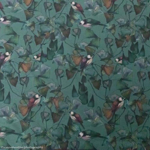 Organic Cotton Lawn Dress Fabric - Ginkgo Birds