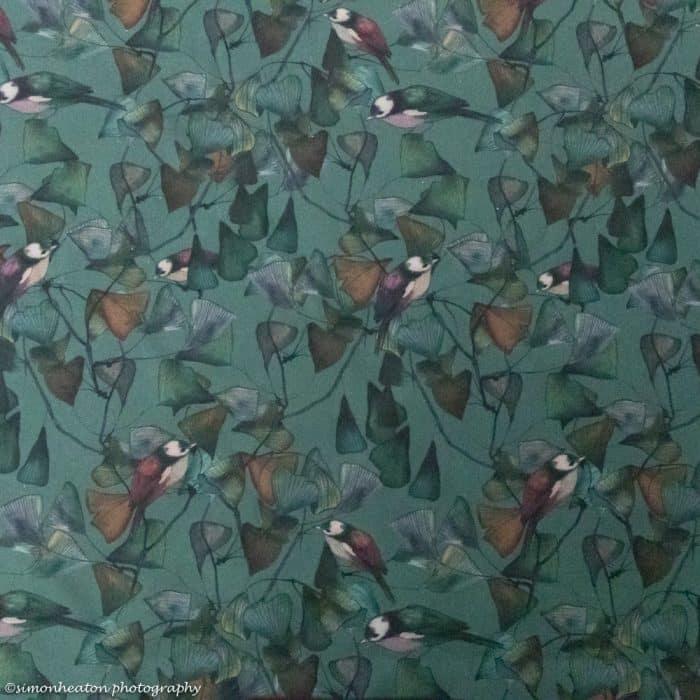Organic Cotton Lawn Dress Fabric - Ginkgo Birds