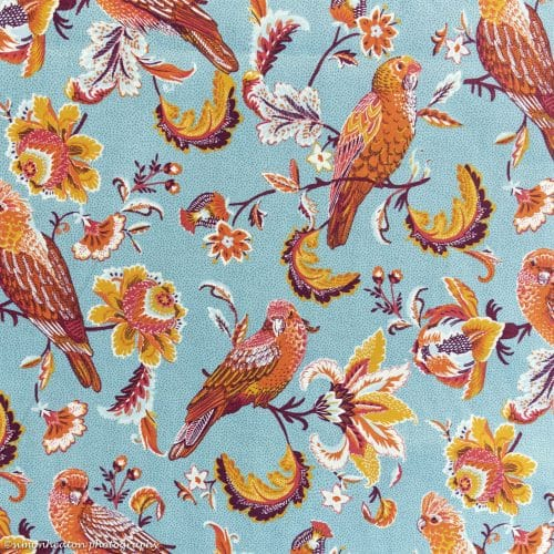 Organic Cotton Poplin Dress Fabric - Parrots Turquoise